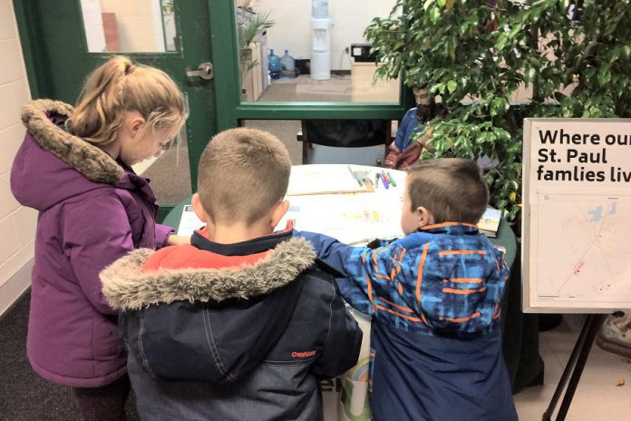 Students at St. Paul Catholic Elementary School in Norwood participate in a planning exercise during the creation of their school travel plan in November 2018. (Photo courtesy of GreenUP)