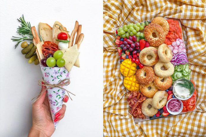 Two of the creative offerings from nibble + graze co.: a handheld charcuterie bouquet, perfect for distanced gatherings, and a bagel and lox board complemented with fresh fruit, vegetables, and bacon. (Photos: Alix Stein)