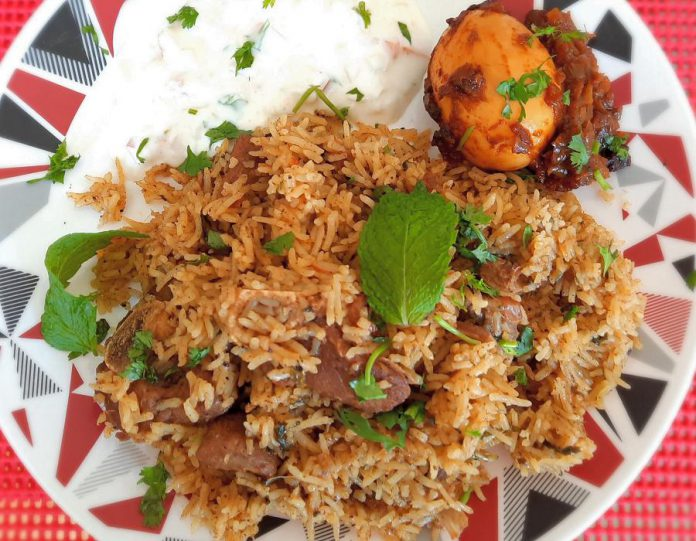 Gayathri Rajan's goat biriyani (with egg fry) is an authentic recipe from southern India of the fragrant mixed-rice dish that is popular across the Indian sub-continent. (Photo courtesy of Gayathri Rajan)