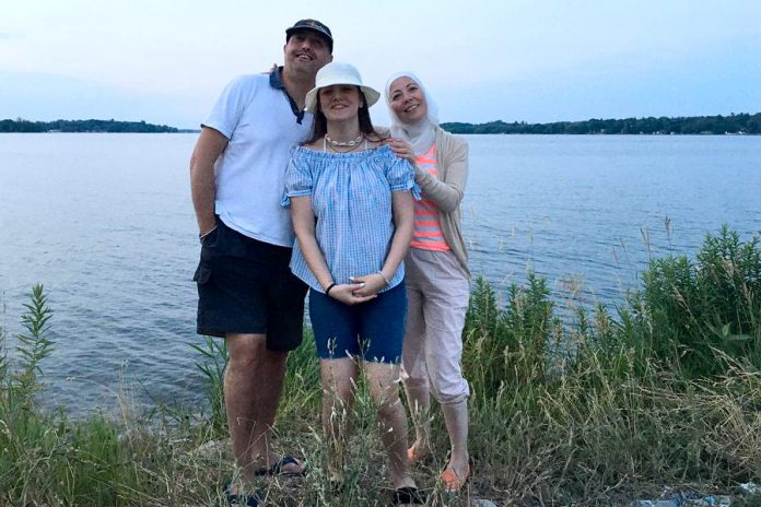 Imad Mahfouz with his daughter Zeina and wife Nerveen (and son Abdullah behind the camera) enjoying Canada's outdoors. Along with learning English, Canadian winters were a challenge for the Syrian family. The family also suffered a loss during the pandemic, when Imad's father died in Syria after contracting the virus. (Photo courtesy of the Mahfouz family)