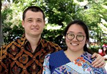 Jessie Iriwanto (right), originally from Indonesia, with her husband Dmitry, originally from Russia, who she met at Trent University when they were both international students. The couple, who married in 2014, turned to cooking as a hobby during the pandemic, with the goal of cooking a new dish from a different country once a month. Jessie is sharing her recipe for beef rendang, a signature dish from Indonesia, which she has adapted to accommodate ingredients commonly found in Canada. (Photo: Linda Cardona)