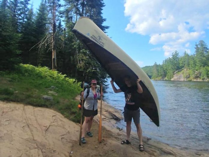 Jessie and her husband Dmitry during a very Canadian canoe trip. They consider Canada their home and feel a sense of belonging in Peterborough. (Photo courtesy of Jessie Iriwanto)