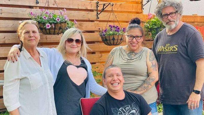 Members of the Zaagi'idiwin Collective: Lois Apaquash, Sarah Gartshore, Darcy Trudeau, Crystal Kimewon, and Bill Sanders. (Photo courtesy of Sarah Gartshore)