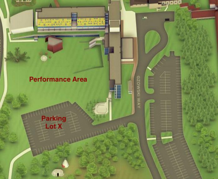 The drive-in performance location of the Nogojiwanong Indigenous Fringe Festival at Trent University in Peterborough. (Map courtesy of NIFF)