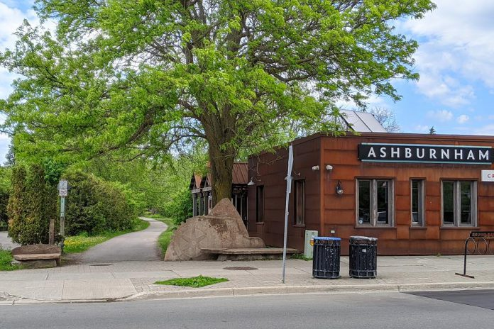 The popular section of the Rotary Greenway Trail from Hunter to Douro streets in Peterborough's East City will be fully lit with %60,000 in LED lighting by the end of July thanks to an intiative spearheaded by Ashburnham Ale House owner Scott Wood, with support from sponsors Village BIA, Stoneguide Realty Limited, Shimano Canada, Wild Rock Outfitters, and the Rotary Club of Peterborough Kawartha. (Photo: Bruce Head / kawarthaNOW.com)