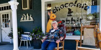 Lois MacEachen, who established The Chocolate Rabbit in Lakefield 16 years ago, is retiring this summer. The local Webster family will be assuming ownership of the popular chocolate shop in August. (Photo: Village Marketing)