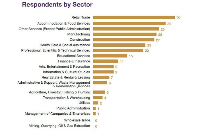 Respondents, by sector, to the Workforce Development Board's 2021 EmployerOne Survey. A total of 268 employers in Peterborough, Northumberland, Kawartha Lakes, and Haliburton responded to the survey. (Graphic: Workforce Development Board)