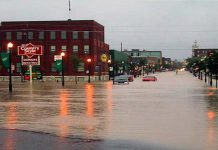 Portions of downtown Peterborough were underwater on July 15, 2004 when a freak storm dumped more than 150 mm of rain in parts of the city in less than an hour. (Photo: City of Peterborough Emergency & Risk Management Division)