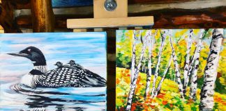 Two 10-by-10 inch mini-paintings by Jennifer Gordon, one of the 28 artists and artisans participating in the Apsley Autumn Studio Tour on September 18 and 19, 2021. This is Gordon's first year participating in the studio tour. Her lifelong family log cottage on Chandos Lake is the inspiration for many of her paintings. (Photo courtesy of Apsley Autumn Studio Tour)