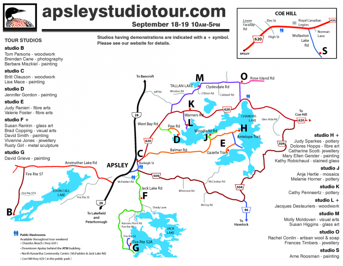 The 2021 Apsley Autumn Studio Tour map. (Map courtesy of Apsley Autumn Studio Tour)