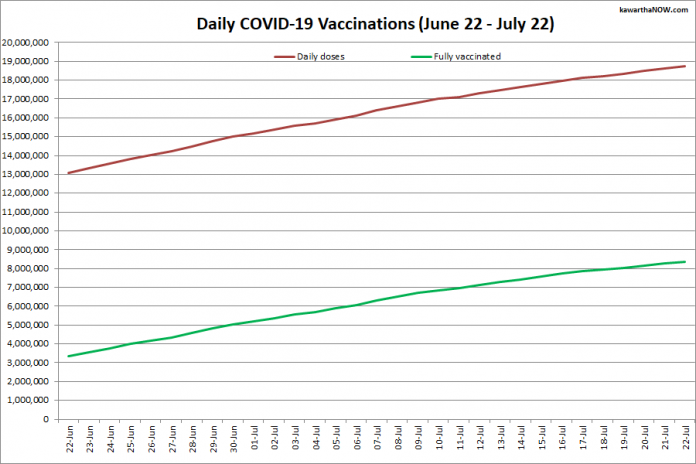 COVID-19 vaccinations in Ontario from June 22 - July 22, 2021. The red line is the cumulative number of daily doses administered and the green line is the cumulative number of people fully vaccinated with two doses of vaccine. (Graphic: kawarthaNOW.com)