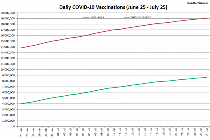 COVID-19 vaccinations in Ontario from June 25 - July 25, 2021. The red line is the cumulative number of daily doses administered and the green line is the cumulative number of people fully vaccinated with two doses of vaccine. (Graphic: kawarthaNOW.com)