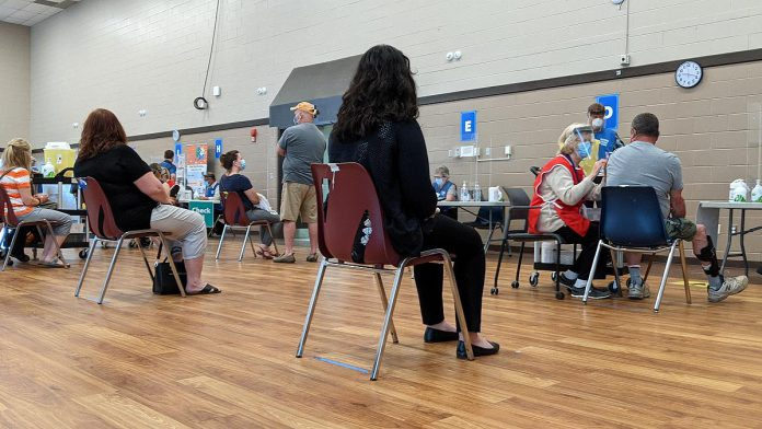 The vaccination clinic at the Evinrude Centre in Peterborough will be moving back to the multipurpose room (pictured in May) effect August 3, 2021. (Photo: Bruce Head / kawarthaNOW)
