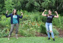 Hayley Goodchild of Peterborough GreenUP and Shaelyn Wabegijig of the Kawartha World Issues Centre are the project coordinators for a local initiative to implement five priority areas (Indigenous leadership, poverty eradication, clean water and sanitation, quality education, and climate action) from the 17 sustainable development goals adopted by the United Nations in 2015. After working on the initaitive since last year, the pair recently met for the first time in person at GreenUP's Ecology Park. (Photo: Genevieve Ramage)