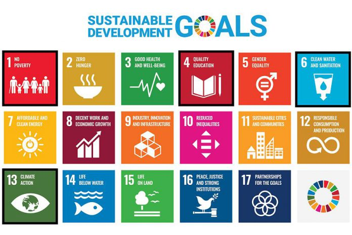 The 17 sustainable development goals (SDGs) adopted by the United Nations in 2015, with the four priority action areas for Nogojiwanong/Peterborough outlined in black. A fifth priority area, prioritizing Indigenous leadership, was chosen by the local community to frame and lead the other four priority action areas. (Graphic: United Nations)