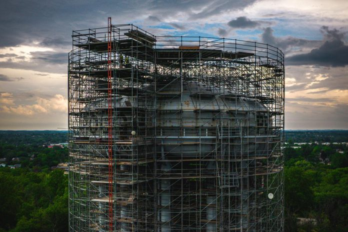Detail from a aerial photo by Peterborough-based drone and video production team Unmanned of the landmark High Street water tower in Peterborough, as work continues to rehabilitate the 64-year-old water tank and tower to extend its useful life. (Photo courtesy of Unmanned)