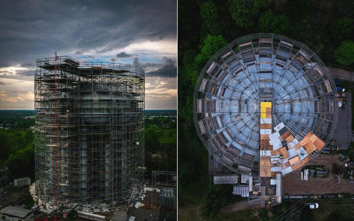 Scaffolding surrounds the landmark High Street water tower in Peterborough in these two photos  by Peterborough-based drone and video production team Unmanned. The project to rehabilitate the water tank and tower began in April and is expected to be completed in October. Unmanned was hired to document the work by Landmark Structures Co., which was contracted by Peterborough Utilities Commission to complete the $3.5-million project. (Photos courtesy of Unmanned)