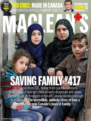 In its January 25, 2016 issue, Macleans Magazine profiled the Alkhalaf family and the efforts of the Salaam Peterborough group (which included Kristy Hiltz and Dave McNab) to bring the Syrian refugee family to Canada. (Graphic: Macleans Magazine)