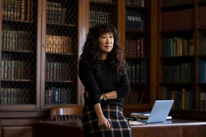 Sandra Oh stars in the new Netflix comedy series The Chair, where she plays the first female and woman of colour to chair a university's failing English department. It premieres on Netflix on Friday, August 20th. (Photo: Netflix)