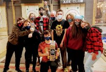 The Peterborough Axe Club at 280 Perry Street in Peterborough has reopened after some renovations. Guests can visit the club to enjoy both axe throwing or darts. In light of COVID-19, the club can welcome four groups of up to 10 people at a time. (Photo courtesy of Peterborough Axe Club)