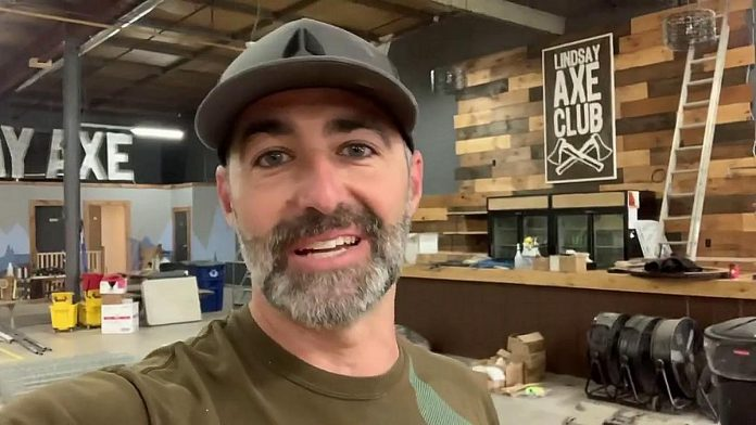 Peterborough Axe Club owner Carlo Raponi in a May 2020 Instagram video explaining how the pandemic forced him to close the Lindsay Axe Club, which opened in 2018. (Video screenshot by kawarthaNOW)