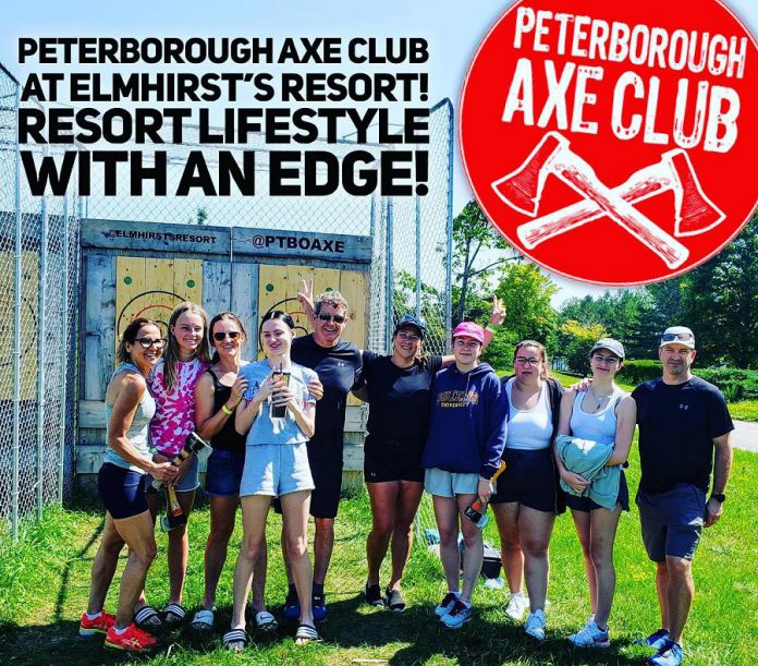 Every Wednesday, Peterborough Axe Club will be at Elmhirst's Resort in Keene as part of the resort's summer activities for guests. (Photo courtesy of Peterborough Axe Club)