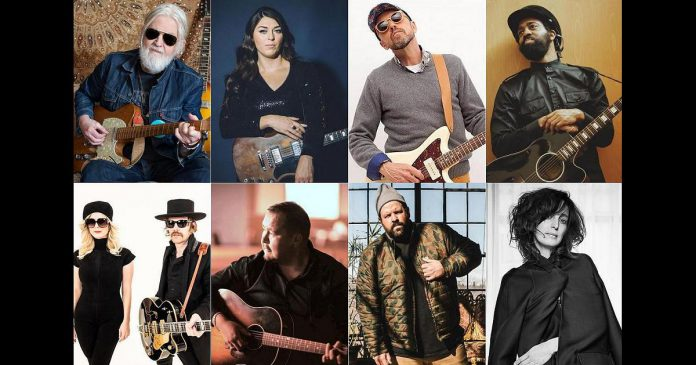Performers at the Peterborough Folk Festival's 'We Can Do This' four-concert series on August 17, 18, 20, and 21, 2021 include (left to right, top and bottom): Greg keelor, Terra Lightfoot, Hawksley Workman, AHI, Whitehorse, William Prince, Donvan Woods, and Chantal Kreviazuk. The series also features Brittany Brooks and local musicians Melissa Payne, Jimmy Bowskill, Evangeline Gentle, and Lauryn Macfarlane. (Photo collage by kawarthaNOW)
