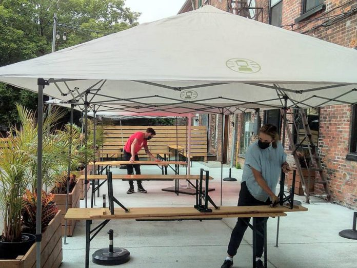The St Veronus back patio beer garden is located in the Bankers Commons courtyard, which has an entrance on Water Street. The patio is tented in order to operate during rain. Reservations are recommended, and tables are held for 10 minutes. (Photo: St Veronus / Facebook)