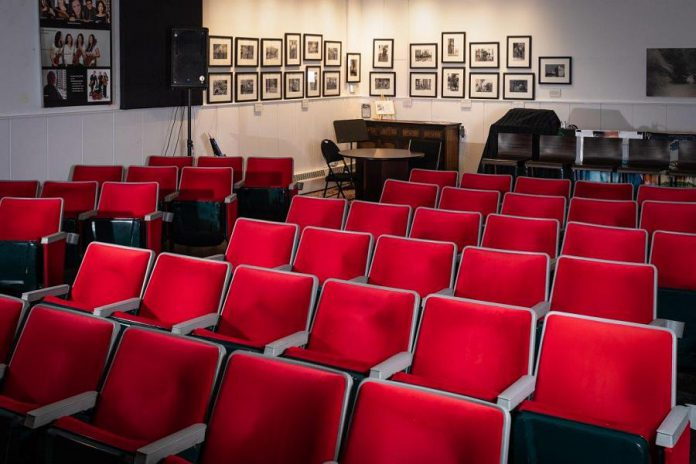 The Loft Cinema in downtown Cobourg is a second-storey, soft-seat, boutique theatre. The venue has a stage, a 20-inch screen, digital cinema system, and a full P.A. They typically screen documentaries, independent and foreign films, ballets, and operas. Pre-COVID, they also staged live events such as jazz concerts. (Photo: Elizabeth LaFontaine)