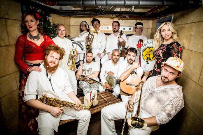 """Westben's 'Welcome Back Weekend' continues on Saturday, July 30th with a concert by the Lemon Bucket Orkestra on Willow Hill. Lemon Bucket Orkestra is a multi-award winning ensemble, self-described as a """"Balkan-Klezmer-gypsy-party-punk-super band."""" (Publicity photo)"""