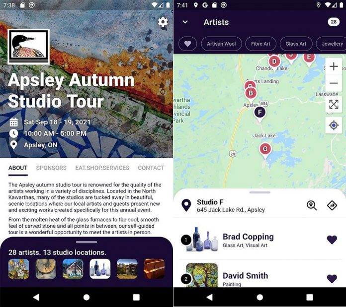 Screenshots from the Android version of the brand new Apsley Autumn Studio Tour app, also available for iOS devices. (Screenshots from Google Play)