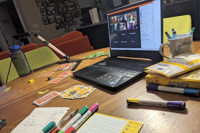 The Boardwalk Board Game Lounge offers the Roll & Write Club with a virtual game night on the first Monday of every month. Roll-and-write games are small and portable games that involve players rolling dice and marking the results on sheets of paper or erasable boards.  (Photo courtesy Boardwalk Board Game Lounge)