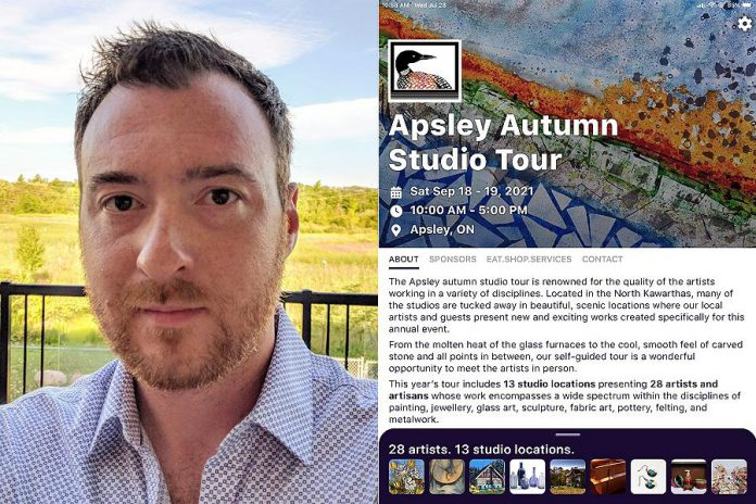Peterborough web and mobile developer Brad Carson developed an app for the 2021 Apsley Studio Tour, and is also working on a build-your-own-app platform called Toureka that will allow other organizations in the arts, culture, and tourism industries to have their own apps without incurring huge development costs. (Photos courtesy of Brad Carson)