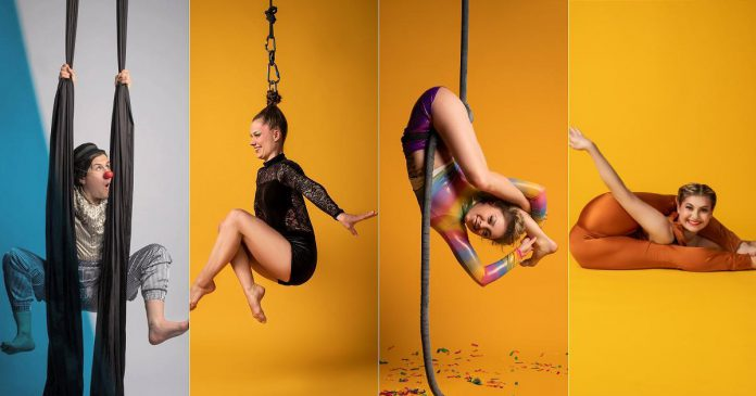 Emily Hughes, Nicole Malbeuf, Laura Lawless, and Flexy-T are the performers in Toronto-based Flying Solo's 'Circus Sundae: Sweet & Salty', presented by Public Energy. The show takes place on August 8, 2021 with two outdoor performances in the parking lots of Peterborough Memorial Centre and PCVS. (Supplied photos, collage by kawarthaNOW)