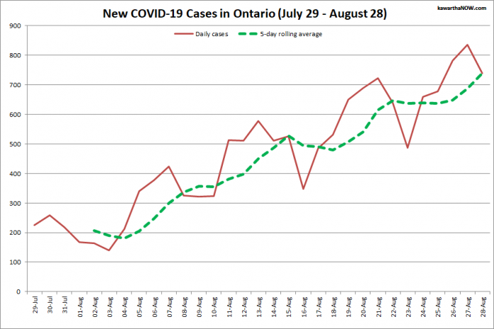 COVID-19 cases in Ontario from July 29 - August 28, 2021. The red line is the number of new cases reported daily, and the dotted green line is a five-day rolling average of new cases. (Graphic: kawarthaNOW.com)