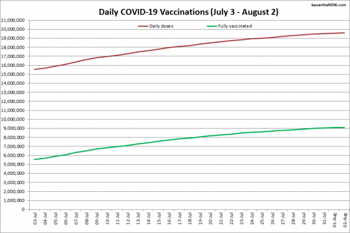 COVID-19 vaccinations in Ontario from July 3 - August 2, 2021. The red line is the cumulative number of daily doses administered and the green line is the cumulative number of people fully vaccinated with two doses of vaccine. (Graphic: kawarthaNOW.co