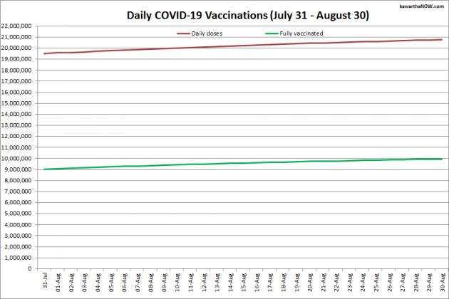 COVID-19 vaccinations in Ontario from July 31 - August 30, 2021. The red line is the cumulative number of daily doses administered and the green line is the cumulative number of people fully vaccinated with two doses of vaccine. (Graphic: kawarthaNOW.com)