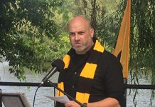 Electric City Football Club president Rob Jenkins, sporting the team's official colours of yellow and black, officially announced Monday (August 9, 2021) at the Silver Bean Café on the shores of Little Lake in Peterborough that the professional soccer franchise will make its League 1 Ontario debut in May 2022. (Photo: Paul Rellinger / kawarthaNOW)