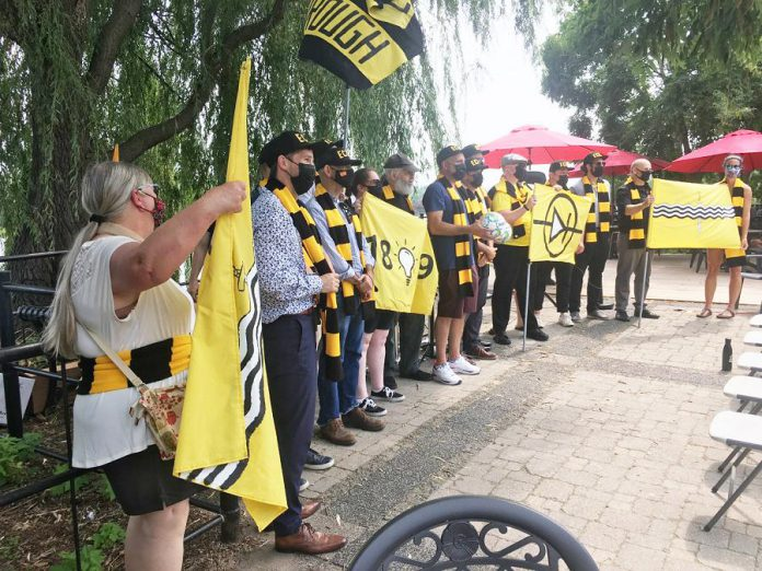 Members of the ownership group backing the Electric City Football Club were joined by club supporters at the official announcement of the club's formation at the Silver Bean Café in Peterborough on August 9, 2021. (Photo: Paul Rellinger / kawarthaNOW)