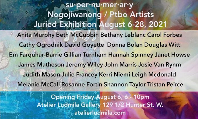 The juried group exhibition 'su-per-nu-mer-ar-y' at Atelier Ludmila Gallery features submissions from 23 local artists. (Graphic:  Atelier Ludmila Gallery)