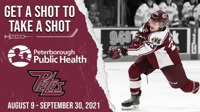 In the Peterborough Public Health and Peterborough Petes 'Get a Shot to Take a Shot' campaign, Peterborough-area residents who receive a COVID-19 vaccine dose between August 9 and September 30, 2021 will be entered into a draw for 250 pairs of free tickets to a Petes home game, with five of those winners getting the opportunity to shoot the puck in the net from centre ice to win seats in the Petes' executive suite. (Graphic: Peterborough Petes)