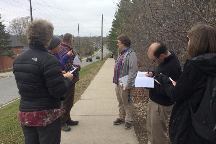 Similar to a Roll and Stroll Check or Walk Audit, a community walk-about can help parents, school partners, municipal staff, and councillors perform identify potential ways to improve active school travel. (Photo: Natalie Stephenson)