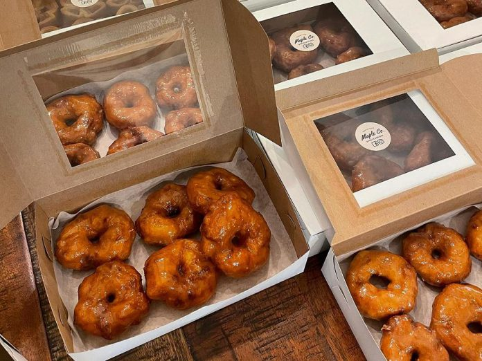 The doughnuts from Frasca's Ridge Maple Co. are made from scratch by husband-and-wife team Vince and Stephanie Frasca.  While many of their maple products are available to order any day, maple tarts and doughnuts are only available from their maple cart on long weekends.  (Photo: Frasca's Ridge Maple Co.)