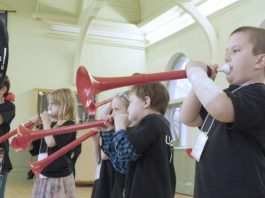 Children participating in a four-week pilot of the Kawartha Youth Orchestra's Upbeat! Downtown after-school music program in 2019. The free program, designed for children living in Peterborough who are interested in music but face barriers to accessing music education, will run from September to June with COVID-19 safety protocols in place. (Photo courtesy of Kawartha Youth Orchestra)
