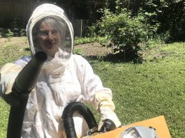 Christine Jaros launched her chemical-free pest control business, VerminX, during the pandemic. While she can handle a variety of pest issues, Christine's specialty is the removal of wasps, bees, and hornets from inside buildings. As a beekeeper, she understands the ecological value of honeybees and relocates them instead of destroying them. (Photo: Logan Stabler)
