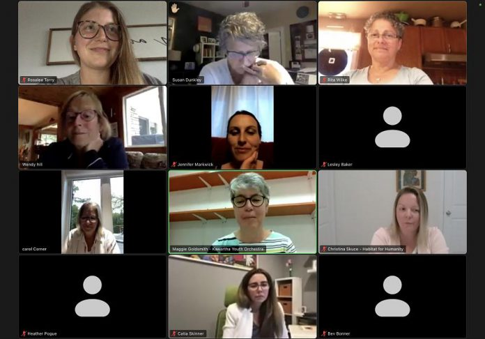 Members of 100 Women Peterborough met virtually on September 21, 2021 to review presentations from Kawartha Youth Orchestra, Habitat for Humanity, and Trent University's Fisheries Research Program, before selecting Kawartha Youth Orchestra as the recipient of the group's donations. (Photo: 100 Women Peterborough)