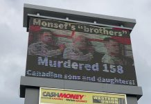 An electronic sign on Lansdowne Street West between Goodfellow Road and The Parkway in Peterborough displays a message associating Peterborough-Kawartha MP Maryam Monsef with the death of 158 Canadian soldiers during Canada's 12-year mission in Afghanistan against the Taliban. Contrary to Elections Canada rules for third-party advertising, there is no tagline indicating who authorized the advertisement. (Photo: kawarthaNOW)