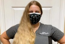 Britney Krzeminsk, a registered veterinary technician at Omemee Veterinary Hospital, is going to shave off all 28 inches of her hair in a fundraiser for the Brain Tumour Foundation of Canada. She has launched a crowdfunding campaign on Canada Helps. (Photo courtesy of Britney Krzeminsk)