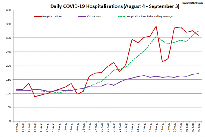 COVID-19 hospitalizations and ICU admissions in Ontario from August 4 - September 3, 2021. The red line is the daily number of COVID-19 hospitalizations, the dotted green line is a five-day rolling average of hospitalizations, and the purple line is the daily number of patients with COVID-19 in ICUs. (Graphic: kawarthaNOW.com)