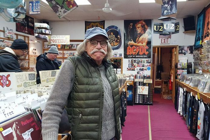 Don Skuce, pictured here at the now-closed Moondance Music in Peterborough in February 2018, was the longtime owner of Ed's Music Workshop. A beloved friend and supporter of numerous musicians and a talented guitar luthier, Skuce died four months after this photo was taken at the age of 66 following a long battle with cancer. The Don Skuce Memorial Music Collective was founded to honour his memory and to support Peterborough-area musicians. (Photo: Jeannine Taylor / kawarthaNOW)